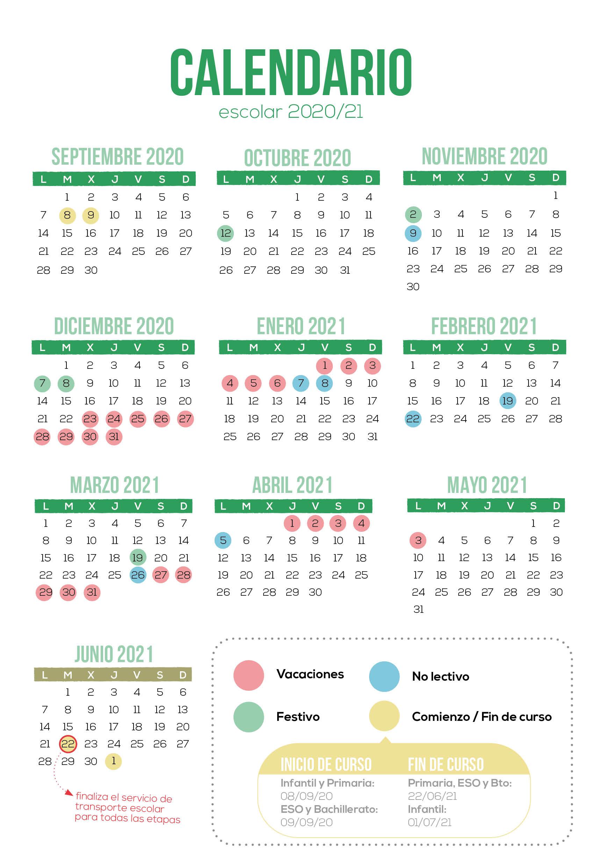 Calendario escolar Madrid 2021 · Colegios Irlandesas