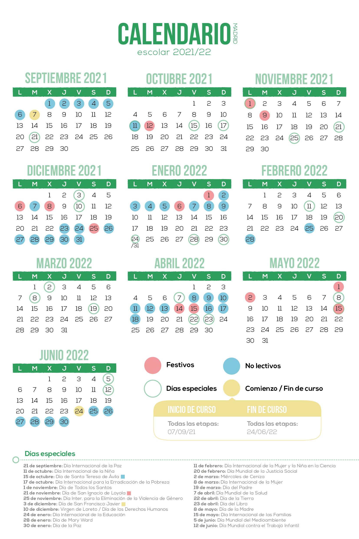 Calendario Escolar 21-22 · Irlandesas El Soto